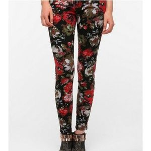 BDG floral jeans womens 30 twig ankle mid rise